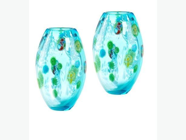 Decorative Blue Floral Glass Flower Vase Set of 2 Brand New