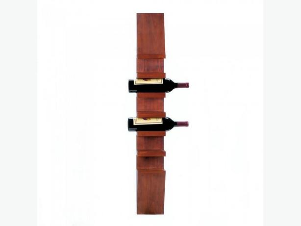 Brown Wood Wine Bottle Holder Wall Rack 2 Styles Tall Sleek Rustic Round Choice