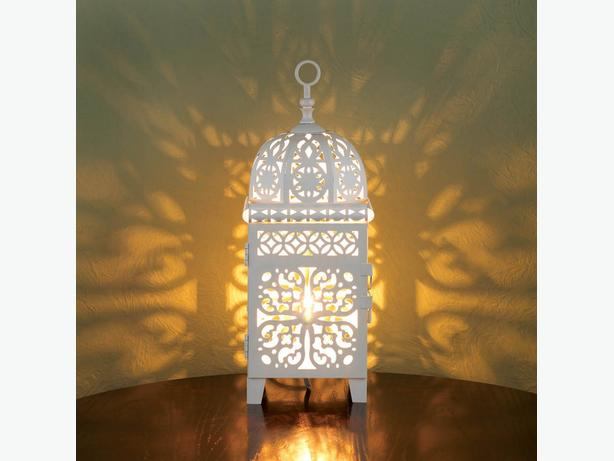 White Electric Lantern Table Lamp & Matching Candle Lantern 4PC Mixed Lot New