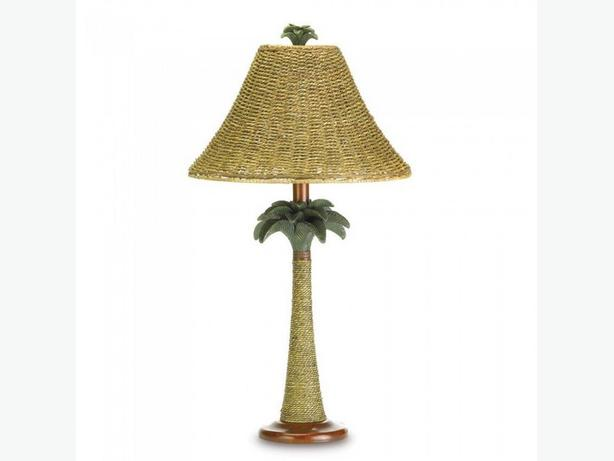 Tropical Table Lamp with Real Rattan Rope Shade & Palm Tree Candleholder PR 3PC