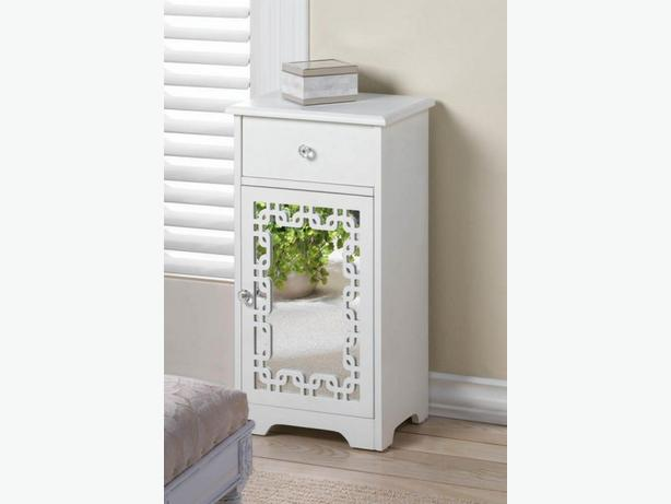 White Wood Accent Side End Table Nightstand with Mirror Door & Crystalline Pulls