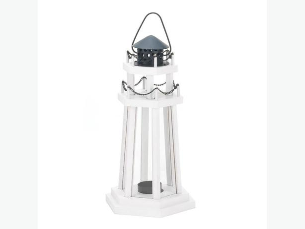 White Wood Lighthouse Candleholder Lantern Black Metal Accents 3 Lot New