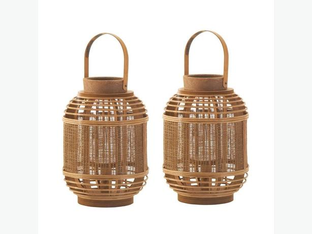 Rustic Bamboo Wood Candle Lantern with Glass Hurricane & Mesh Panel 2 Lot New