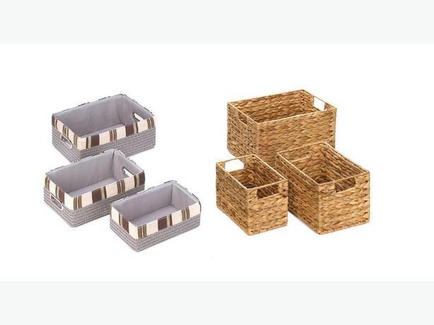 Nesting Storage Bin Basket Set Wicker Rectangle Fabric Stripe 2 Styles Mixed 6PC
