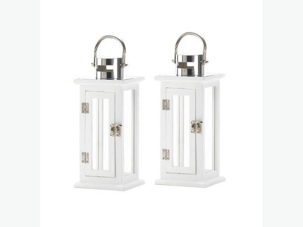 """12"""" White Wood Candle Lantern Stainless Steel Handle Set of 2 New"""