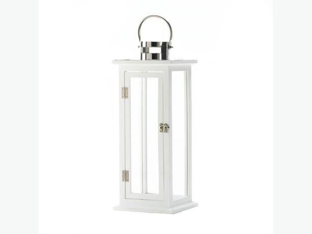 Large White Wood Candle Lantern Stainless Steel Handle & Clear Glass Panes New