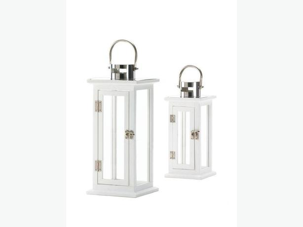 White Wood Candle Lantern Stainless Steel Handle Lg & Sm 2PC Mix New
