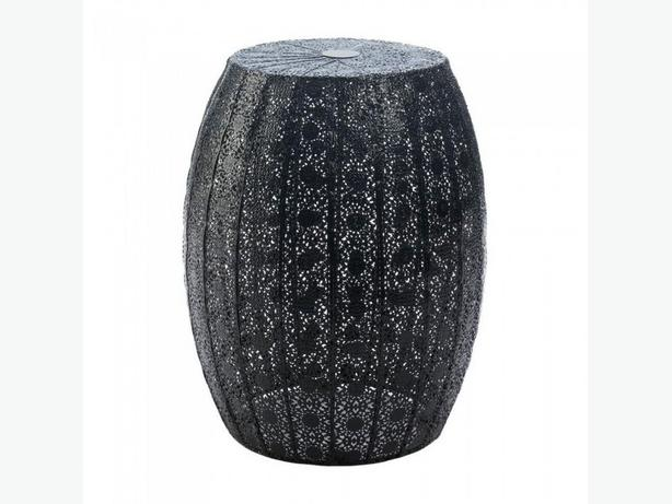 Indoor Outdoor Black Metal Lace-Look Decorative Stool Plant Stand Side Table