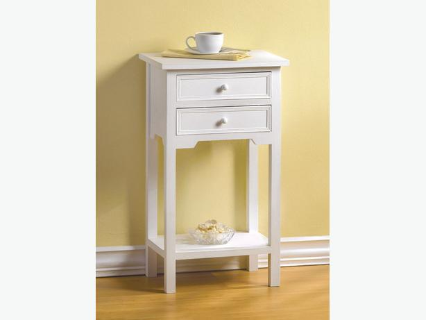 Versatile White Wood Accent Side End Table Nightstand 2 Drawers & Shelf New