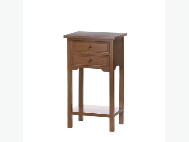 Versatile Brown Wood Accent Side End Table Nightstand 2 Drawers & Shelf New