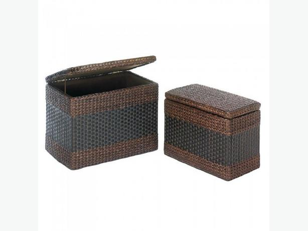 2PC Fabric-Lined Brown Wicker Nesting Storage Trunk Set Brand New