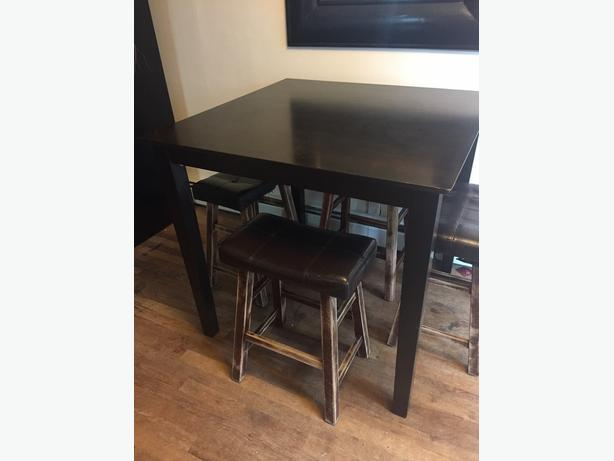 Dark wood finish counter height dining set