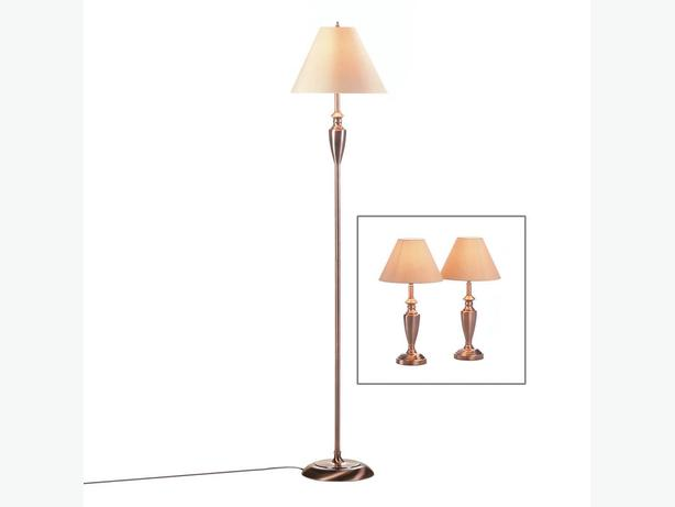 3PC Lamp Set Floor Pole Lamp & 2 Table Lamps Brand New Coppertone