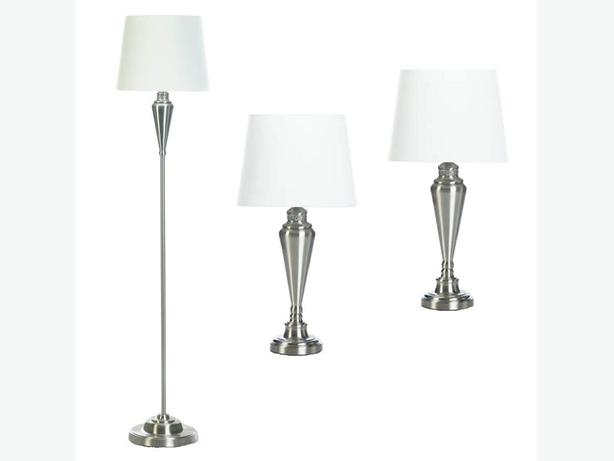3PC Lamp Set Floor Pole Lamp 2 Table Lamps Silvertone White Shade