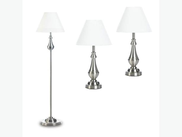 3PC Lamp Set Floor Pole Lamp 2 Table Lamps Silver with Turned Detailing