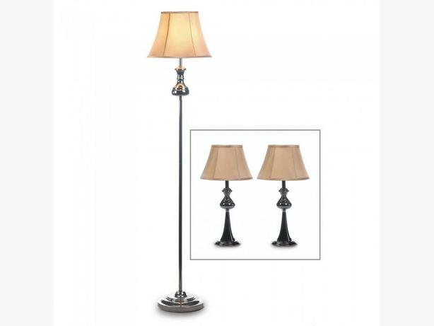 3PC Modern Lamp Set Floor Pole Lamp 2 Table Lamps Shiny Black
