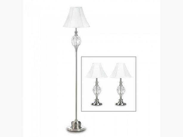 3PC Shiny Silver Lamp Set Scrollwork Detailing Floor Pole Lamp & 2 Table Lamps