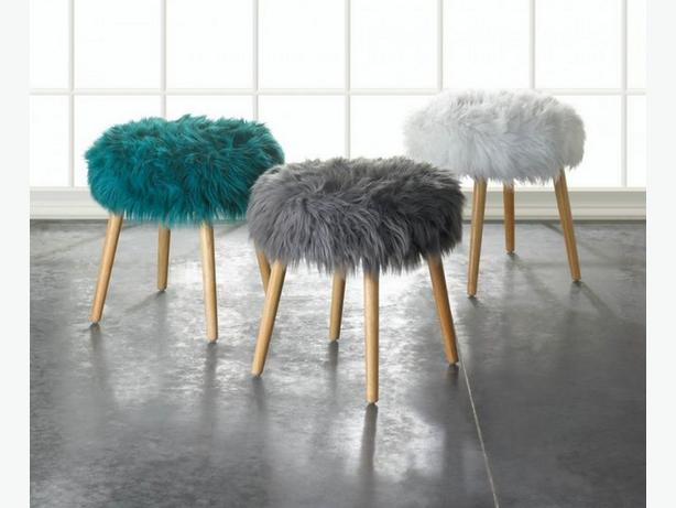 Round Wood Footstool Seat with Faux Fur Top Turquoise Gray White Choice New