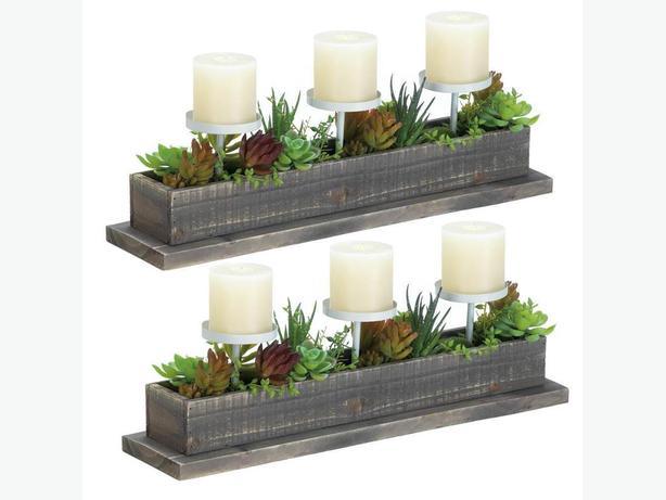 Rustic Weathered Driftwood Plant Arrangement Candleholder Display Set of 2 New