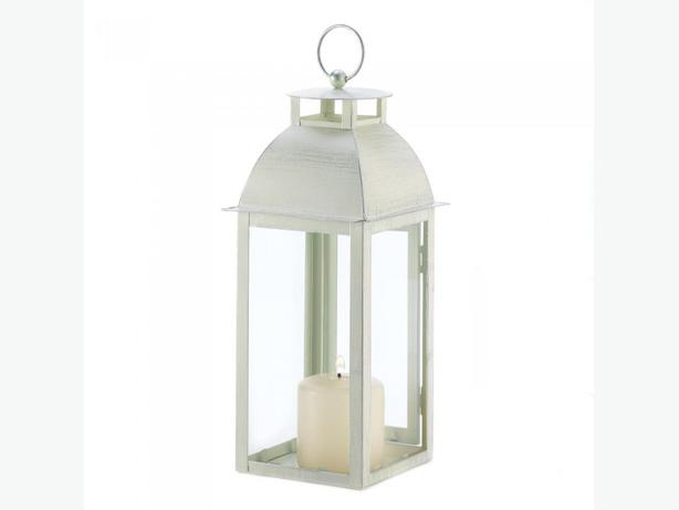 Weathered Distressed Ivory Candle Lantern Centerpiece 3 Lot Brand New