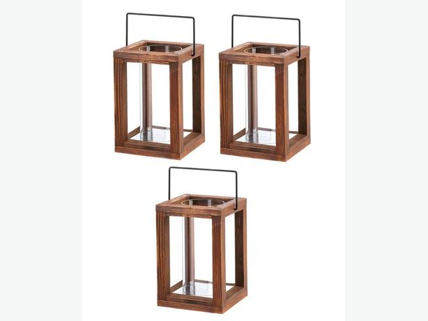 Rustic Wood Candle Lantern with Hurricane Glass Cylinder 3 Lot New