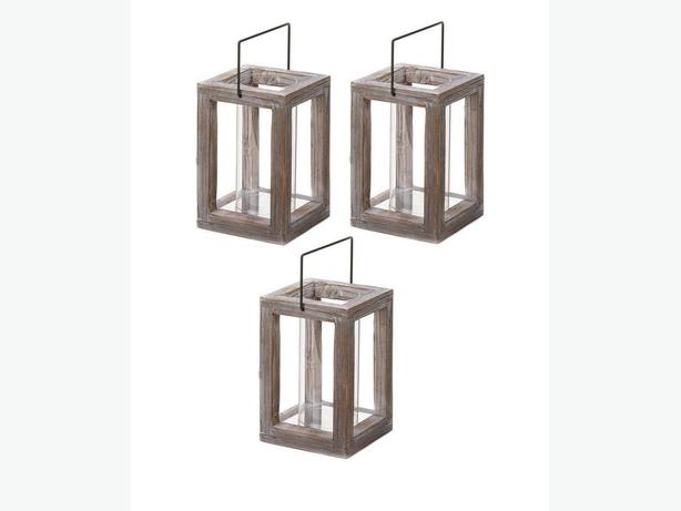Homespun Weathered Wood Candle Lantern with Hurricane Glass Cylinder 3 Lot New