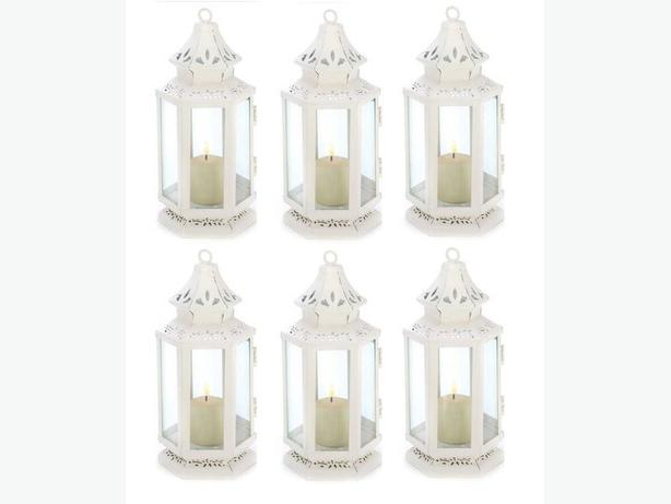 White Candle Lantern 6 Lot Brand New Victorian-Style
