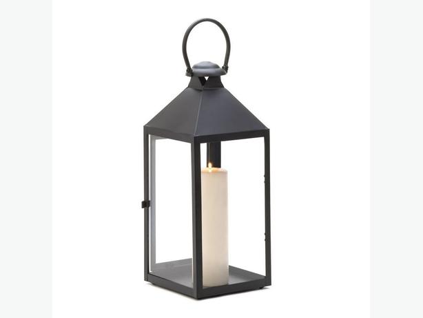 Indoor Outdoor Classic Black Large Candle Lantern Loop Handle Set of 2 New
