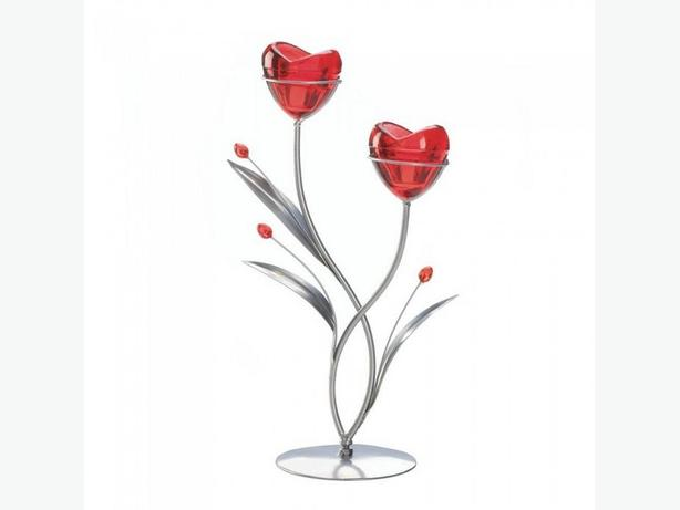 Red Hearts Candleholder Centerpiece Stand Set of 4 Brand New