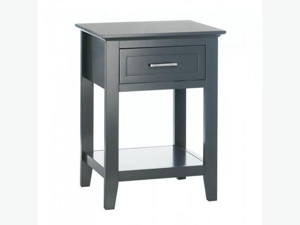 Gray Accent Side End Table Nightstand with Drawer Shelf Brand New