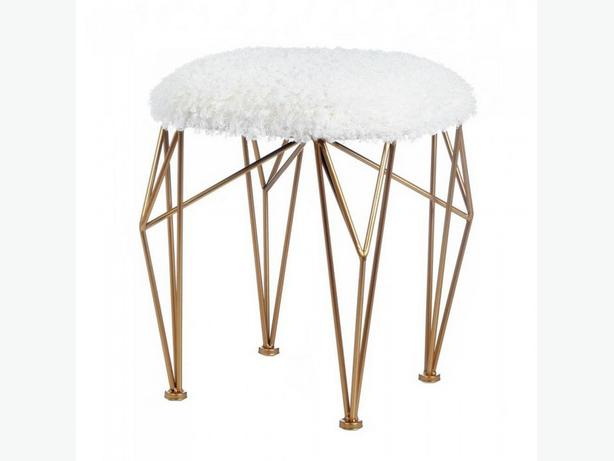 Modern Geometric Chic Stool Seat Gold Iron Legs & White Faux Fur Top New