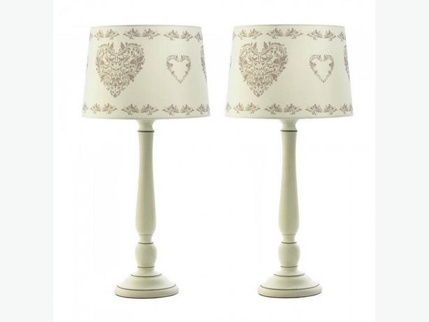 White Ceramic Table Lamp Heart Accented Shade Set of 2 New Romantic