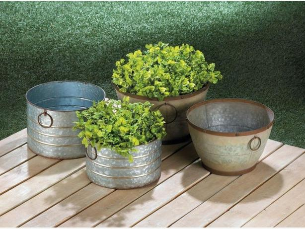2PC Rustic Country Farm-Style Galvanized Metal Planter Pots 2 Styles Choice New