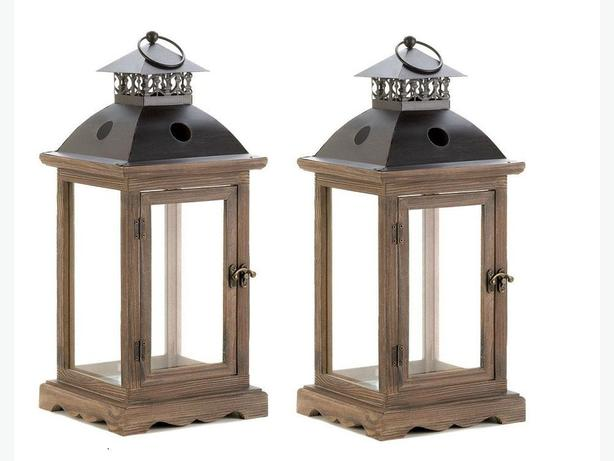 Large Candle Lantern Lamp Wood Frame & Antiqued Latched Door Set of 2