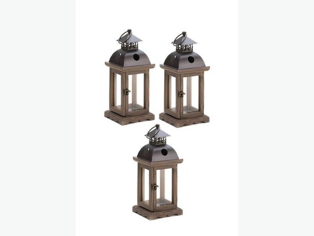 Rustic Candle Lantern Lamp Wood Frame & Antiqued Latched Door 3 Lot New