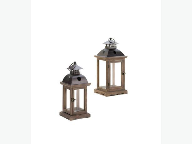 Rustic Candle Lantern Lamp Wood Frame & Antiqued Latched Door 2PC Lg&Sm