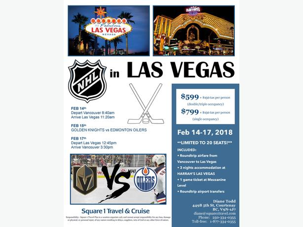 NHL in Vegas Feb.14-17 3nt package, with Game ticket $599
