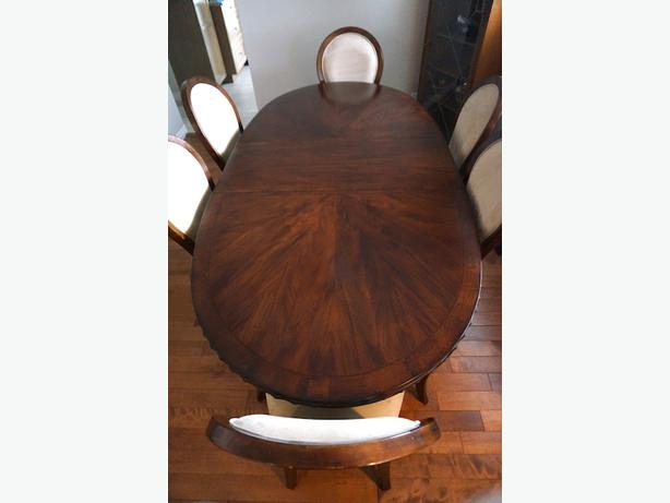 Dining room table, six chairs, and side board