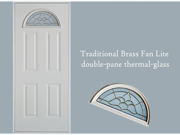 Glass Insert ~ Traditional Brass Fan Lite