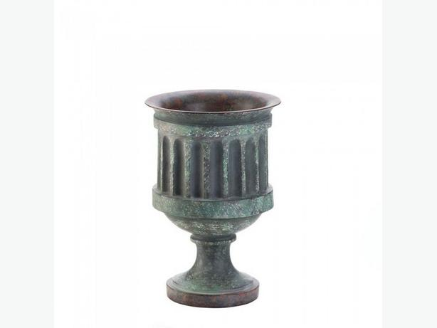 Grecian-Style Pedestal Urn Planter with Weathered Copper-Look Finish 3 Lot NEW