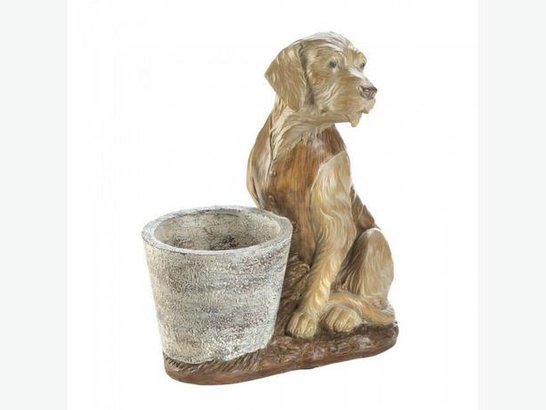 Golden Retriever Figurine Dog Statue Ornament Flower Pot Planter Set of 4 New