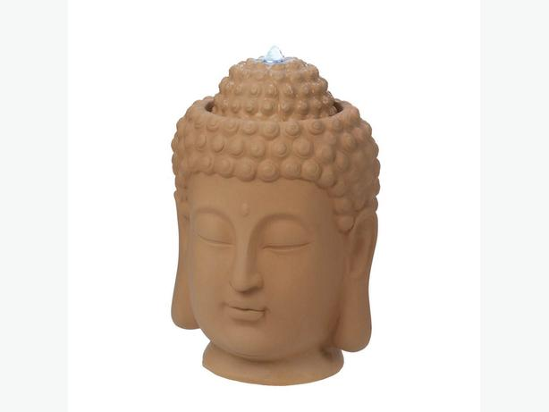 Indoor Outdoor Sculpted Ceramic Buddha Head Bust Electric Water Fountain New