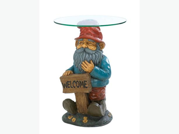 Whimsical Welcoming Gnome Figurine Statue Novelty Accent Table with Glass Top
