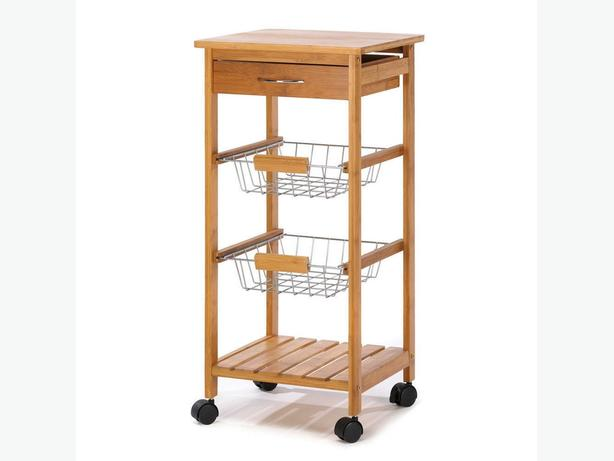 Spacesaving Kitchen Side Table Trolley Cart Drawer 2 Baskets & Shelf Bamboo New