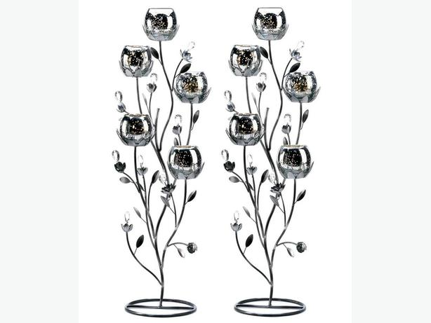 Silver Mercury Glass Candleholder Candelabra Tree Stand Set of 2 New