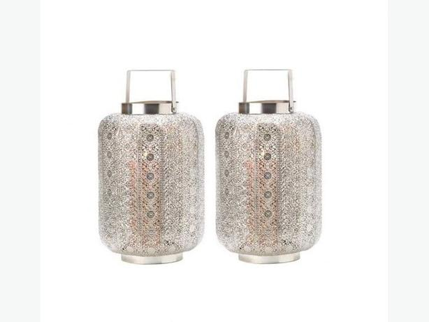 Silver Lace-Look Pattern Candleholder Lantern Lamp with Square Handle 2 Lot New