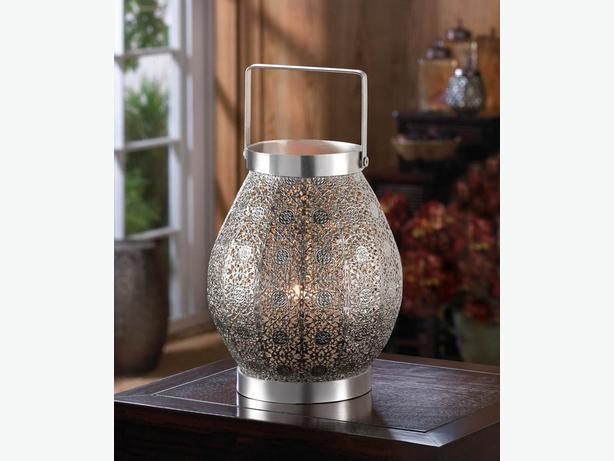 Silver Lace-Look Round Candle Lantern Lamp Centerpiece Square Handle 4 Lot