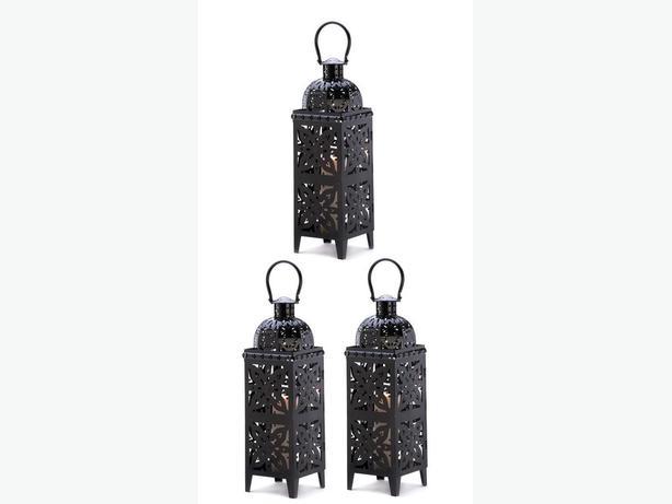 Huge Shiny Black Candle Lantern Intricate Cutouts 3 Lot Brand New