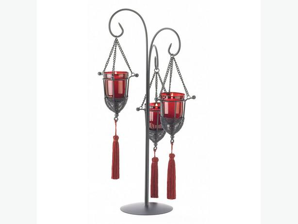 Red Glass Candleholder Candelabra Centerpiece with Tassels Gothic Romantic 4 Lot