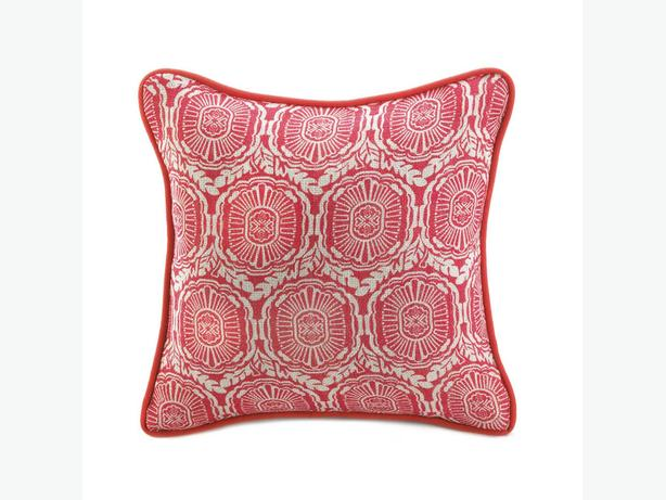 Jute Red Accent Throw Pillow Set of 8 Brand New Heritage Pattern